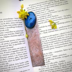 miedziana zakładka z grawerem,niebieski kamień - Zakładki do książek - Akcesoria