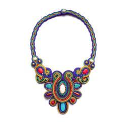 etniczny naszyjnik,naszyjnik soutache - Naszyjniki - Biżuteria