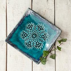 ceramika,patera,koronka,talerz kwadratowy - Ceramika i szkło - Wyposażenie wnętrz