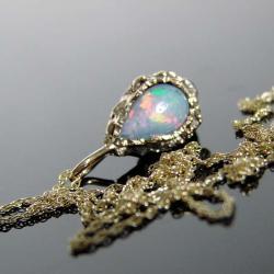 złoto,opal,naszyjnik,opal - Naszyjniki - Biżuteria