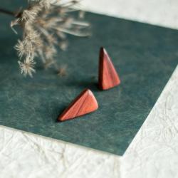geometryczne kolczyki,drewniana biżuteria,drewno - Kolczyki - Biżuteria