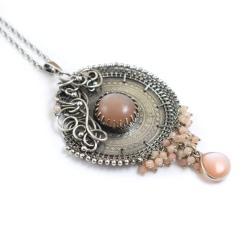 wisior,wire-wrapping,misterny,okrągły,mandala - Wisiory - Biżuteria