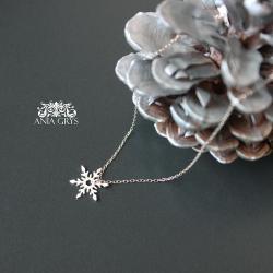 śnieżynka,gwiazdka,zawieszka,wisiorek - Naszyjniki - Biżuteria