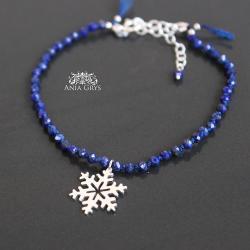 śnieżynka,gwiazdka,bransoletka,srebrna,lapislazuli - Bransoletki - Biżuteria