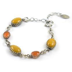 bransoletka,retro,srebrna,żółta,pomarańczowa - Bransoletki - Biżuteria
