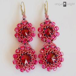 różowe kolczyki,błyszczące,boho,swarovski - Kolczyki - Biżuteria