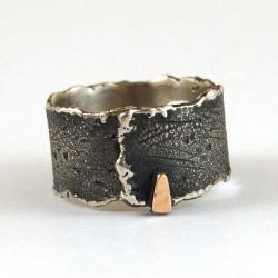srebrno złota obrączka męska unisex - Pierścionki - Biżuteria