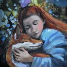 Obrazy przyjaźń,dziecko,rudy,lis,las,miłość,baśń