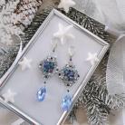 Kolczyki kolczyki,kryształowe,srebrne,błękitne,długie