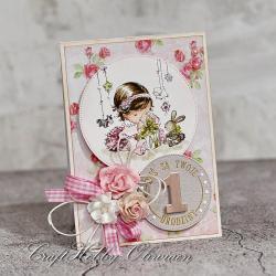 roczek,urodziny,dziewczynka,kartka,życzenia - Kartki okolicznościowe - Akcesoria