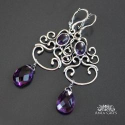 ametyst,srebrne,kolczyki,aniagrys - Kolczyki - Biżuteria