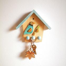 ptaki,na klucze,wieszak,ceramika,drewno,ptak - Inne - Wyposażenie wnętrz