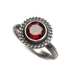 granat,srebrny,retro,blask,delikatny,czerwony,styl - Pierścionki - Biżuteria