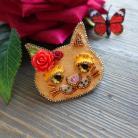 Broszki rudy kot,broszka kot,koralikowa broszka