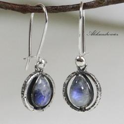 kamień księżycowy,srebro - Kolczyki - Biżuteria