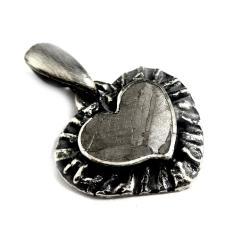 meteoryt,serce,szarości,meteoryt,srebro,unisex - Wisiory - Biżuteria