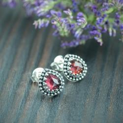 romantyczne,granat,bordo,fasetowane - Kolczyki - Biżuteria