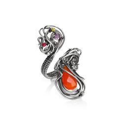 karneol,duży pierścionek,srebrny pierścionek - Pierścionki - Biżuteria