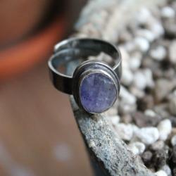 pierścionek,srebro,tanzanit,niebieski, - Pierścionki - Biżuteria