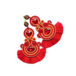 kolczyki soutache,czerwone kolczyki,flamenco - Kolczyki - Biżuteria