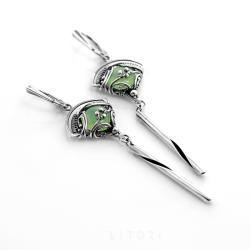 zielony chalcedon,długie,eleganckie,srebrne - Kolczyki - Biżuteria