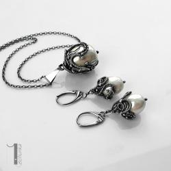 naszyjnik srebrny,kolczyki,wire wrapping,perła - Komplety - Biżuteria