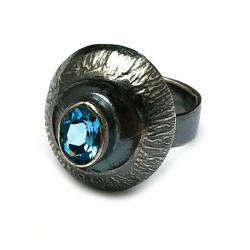 topazy,srebrny,blask,blue,błękitny,kosmos,retro, - Pierścionki - Biżuteria