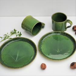 ceramika,talerz,talerzyk,kubek,liść ceramiczny - Ceramika i szkło - Wyposażenie wnętrz