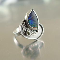 pierścionek,bajkowy,regulowany,ammolit,romantyczny - Pierścionki - Biżuteria