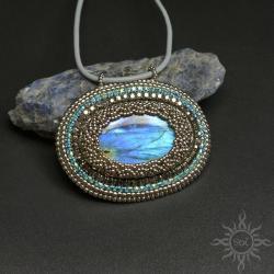 labradoryt,medalion,niebieski,ogień,ażurowy,owal - Wisiory - Biżuteria