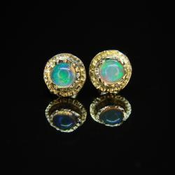 złoto,opal,kolczyki,sztyfty - Kolczyki - Biżuteria