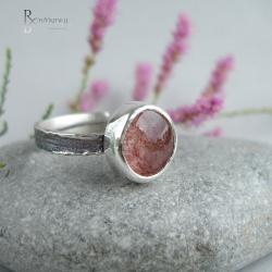 delikatny pierścionek,awenturyn różowy - Pierścionki - Biżuteria