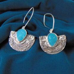 kolczyki z turkusami,artystyczne - Kolczyki - Biżuteria