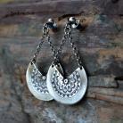 Kolczyki srebrne wachlarze,biżuteria etno