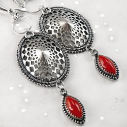srebrne,kolczyki,wire-wrapping,czerwony,koral - Kolczyki - Biżuteria