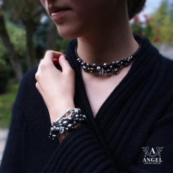 komplet biżuterii z pereł,bransoleta i naszyjnik - Naszyjniki - Biżuteria