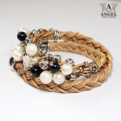 bransoleta skórzana z pereł,biżuteria damska - Bransoletki - Biżuteria