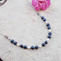 srebro,perły,chainmaille,nowoczesny - Naszyjniki - Biżuteria