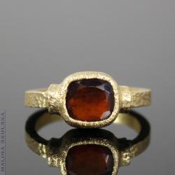 antyczny,średniowieczny,pozłacany,surowy,granat - Pierścionki - Biżuteria