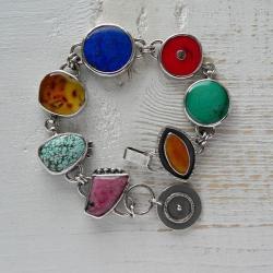 masywna bransoletka,kolorowa bransoletka,srebro - Bransoletki - Biżuteria