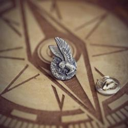 srebrny pin sowa,srebrna broszka sowa,przypinka - Broszki - Biżuteria