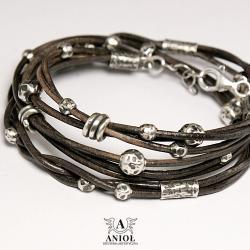 surowa biżuteria,bransoleta damska z rzemienia - Bransoletki - Biżuteria