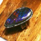 Pierścionki AMMOLIT,srebrny,blask,srebro,tęcza,fiolet,retro