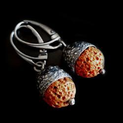 żołędzie,srebrne,srebro,lawa,jesień,szarości,retro - Kolczyki - Biżuteria