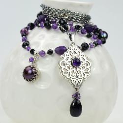 naszyjnik,wisior,zestaw,komplet,ametyst,elegancki - Naszyjniki - Biżuteria