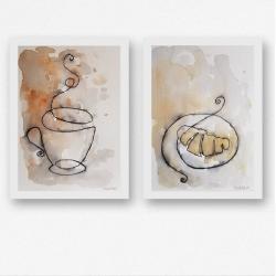 akwarela,kawa,croissant - Obrazy - Wyposażenie wnętrz