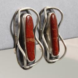 srebrne klipsy z koralem - Klipsy - Biżuteria