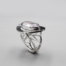 srebrny,regulowany,kwarc różowy fasetowany - Pierścionki - Biżuteria