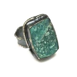 chryzokola,blask,zieleń,mint,srebrny,szarości,retr - Pierścionki - Biżuteria