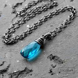 delikatny,niebieski,z kamieniem,codzienny - Naszyjniki - Biżuteria